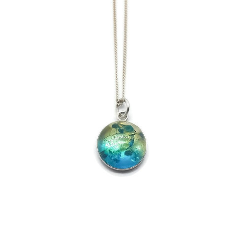 Sterling Silver Sapphire Blue Ombre Baltic Amber Pendant and Chain