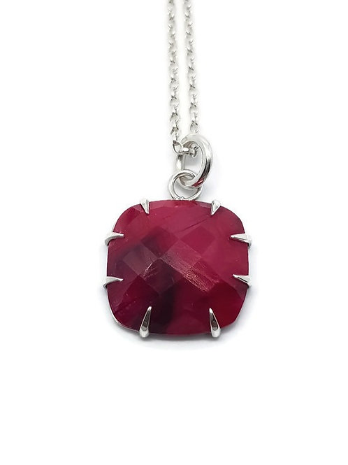 Sterling Silver Rosecut Ruby Pendant and Chain