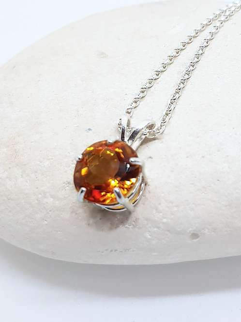 Sterling Silver Solitaire Golden Citrine Pendant and Chain