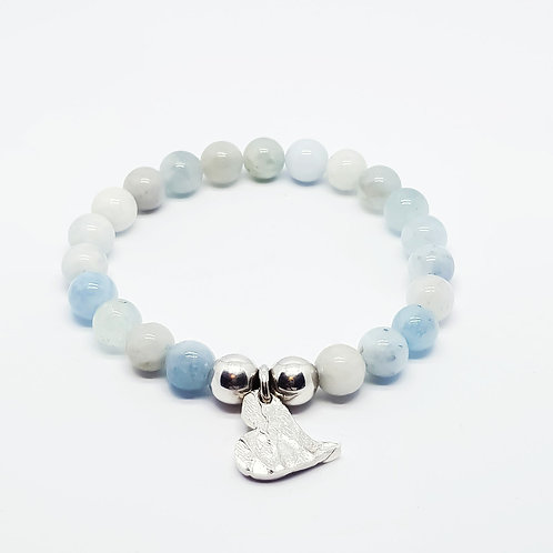 Colours Of Aquamarine and Sterling Silver Stretchy Bracelet
