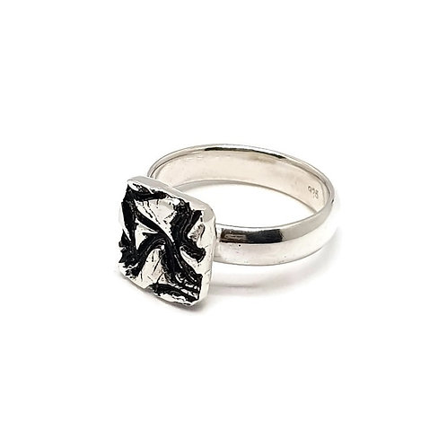 Sterling Silver ContemporarySquare Solitaire Ring