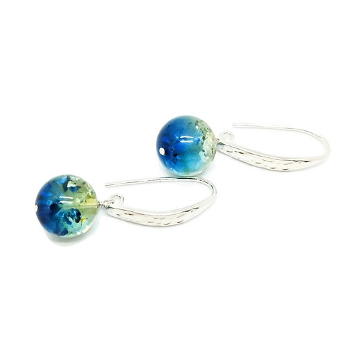 Sapphire Blue Ombre Baltic Amber Sterling Silver Drop Earrings