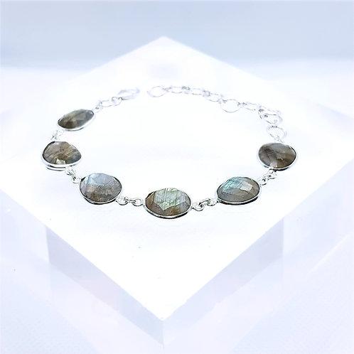 Sterling Silver Oval Labrodolite Bracelet