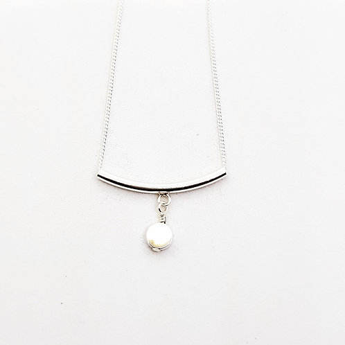 Teeny Weeny Series Sterling Silver Bar and Disc Necklace
