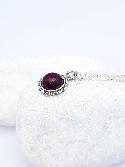Cherry Amber Pendant and Chain