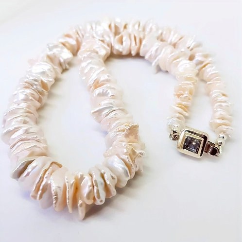 Sterling Silver Freshwater Cultured Ivory Keshi Pearl and Bracelet Set