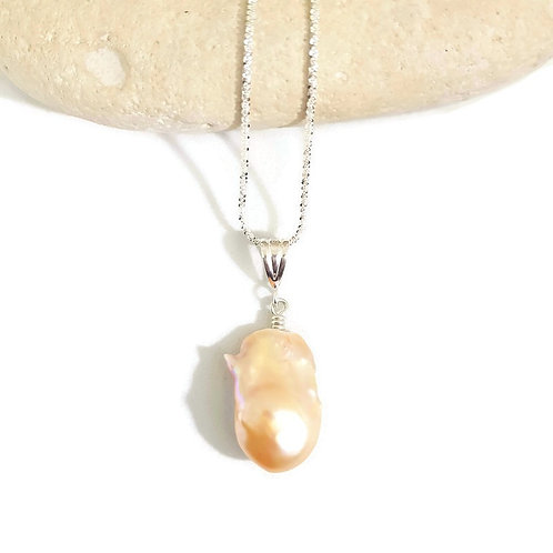 Sterling Silver Peach Baroque Pearl Necklace