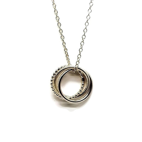 Sterling Silver 3 Ring Trinity Necklace Simplicity Series