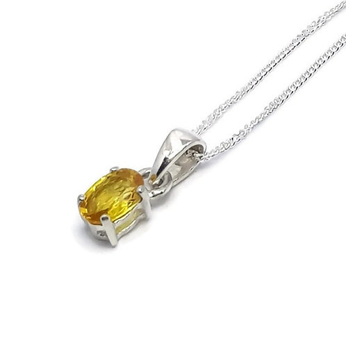 Sterling Silver Oval Yellow Sapphire Pendant and Chain