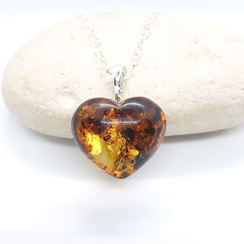 Sterling Silver Amber Heart Shaped Necklace
