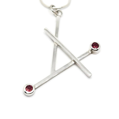 Sterling Silver Pink Tourmaline Pendant and Chain The Geo Series