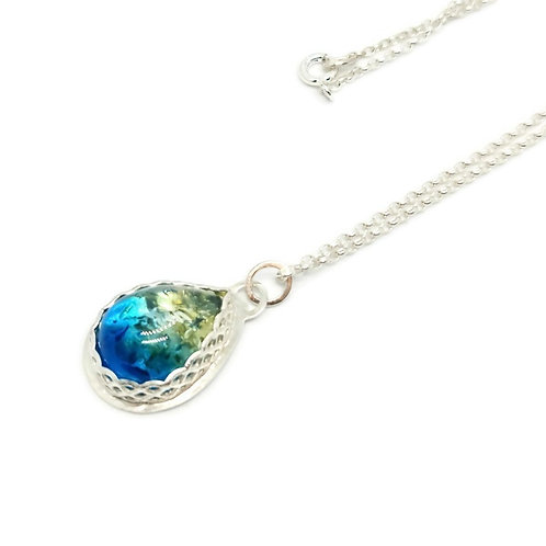 Sterling Silver Sapphire Ombre Baltic Amber Pendant and Chain