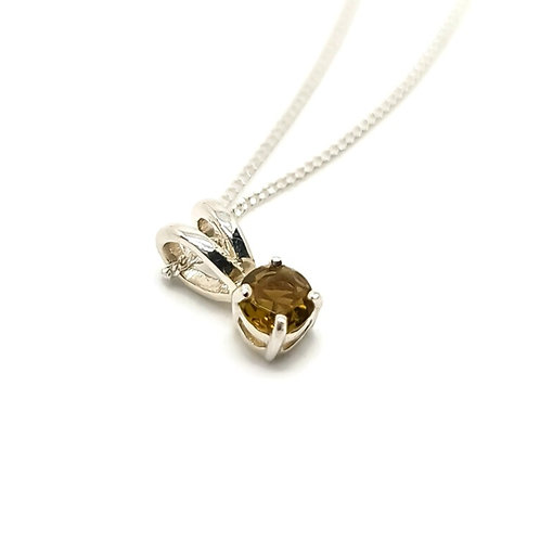 Sterling Silver Green Tourmaline Pendant and Chain