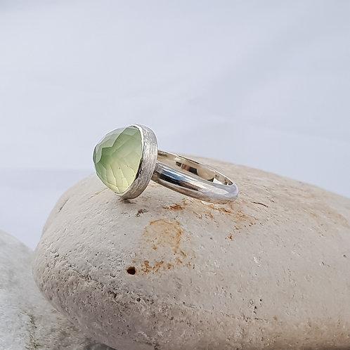 Faceted Prenite Round Gemstone Ring