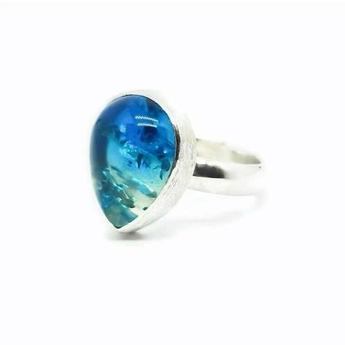 Sterling Silver Sapphire Ombre Amber Solitaire Ring