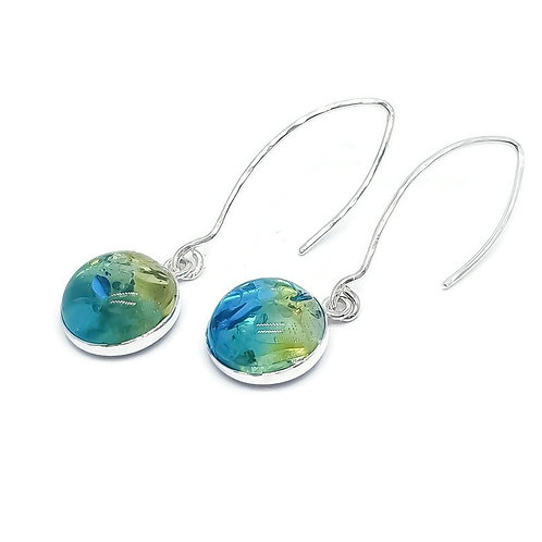 Sterling Silver Baltic Amber Sapphire Blue Ombre Drop Earrings