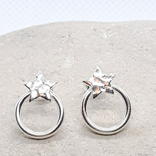 Sterling Silver Star and Circle Earrings