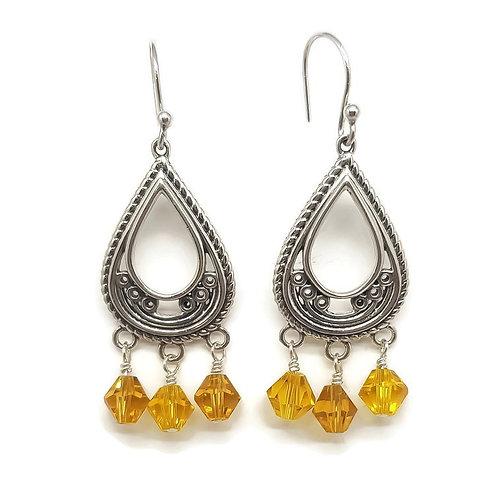 Sterling Silver Filigree Swarovski Drop Earrings