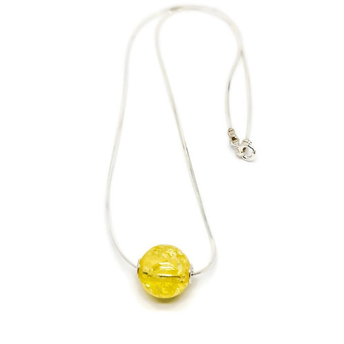 Sterling Silver Lemon Baltic Amber Round Bead Pendant and Chain