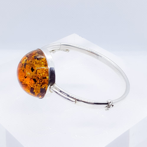 Sterling Silver Statement Amber Bangle