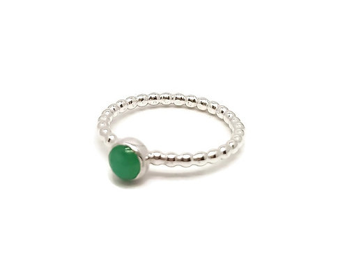 Sterling Silver Chrysophrase Gemstone Ring Candy Girl Series
