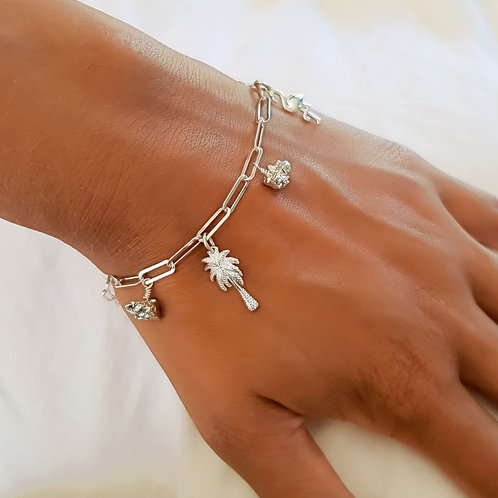 Sterling Silver Charm Bracelet Totally Tropical