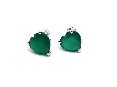 Sterling Silver Green Onyx Heart Shaped Earrings