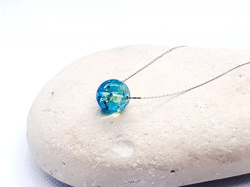 Sterling Silver Sapphire Blue Ombre Amber Necklace Simplicity Series
