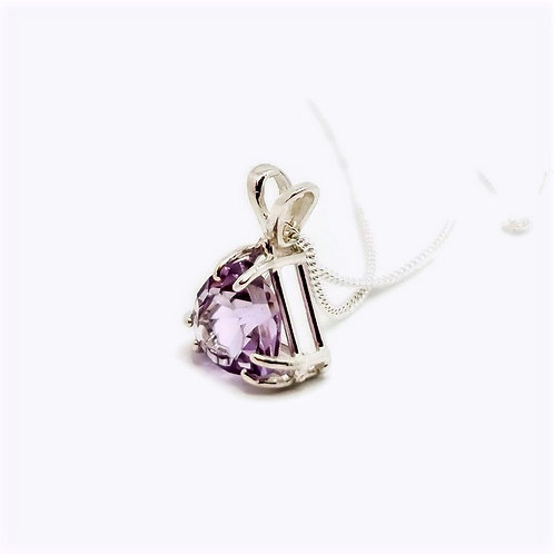 Sterling Silver Rose De France Amethyst Trillion Cut Pendant and Chain