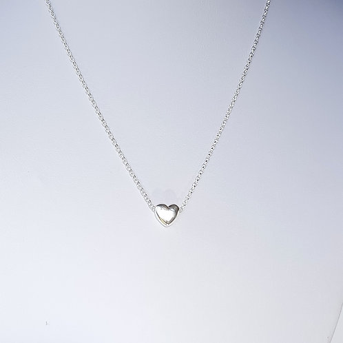 Sterling Silver Puffy Heart Necklace Simplicity Series
