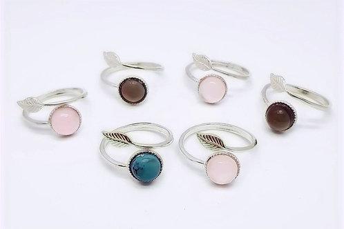 Sterling Silver Adjustable Gemstone Leaf Ring