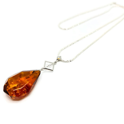 Sterling Silver Geometric Baltic Amber Pendant and Chain