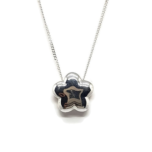 Sterling Silver puffy Flower Necklace