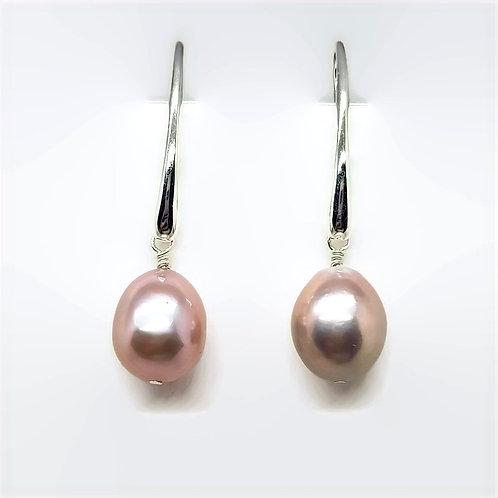Sterling Silver Pink Metallic Nucleated Pearl Drop Earrings