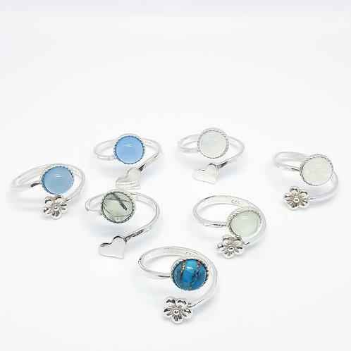 Sterling Silver Adjustable Gemstone Ring