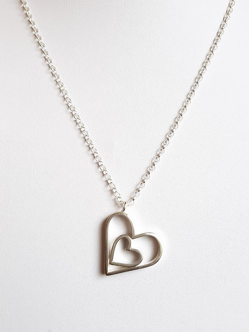 Sterling Sliver Heart within a Heart Necklace