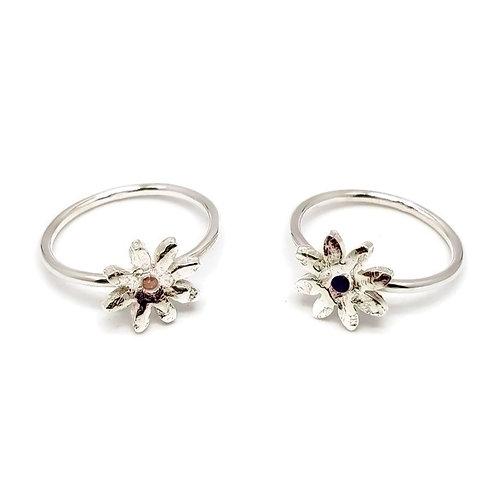 Gemstone Daisy Stacker Ring Skinni Minni Series