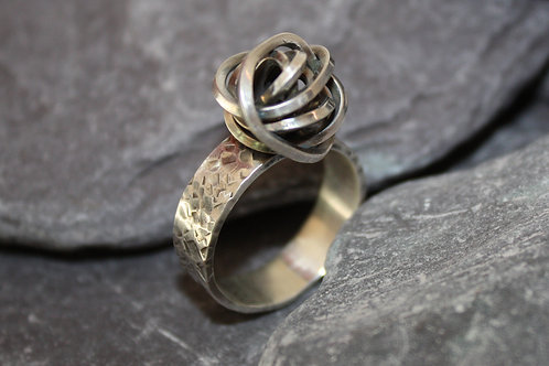 Sterling Silver Statement Knot Oxidised Ring Scribbler Series