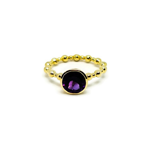 Amethyst Solitaire Ring Gold Plated Sterling Silver