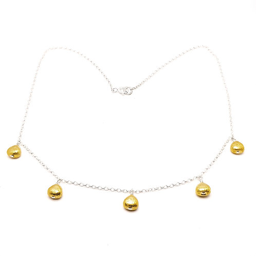Sterling Silver Necklace with Gold Plated Sterling Silver Beads