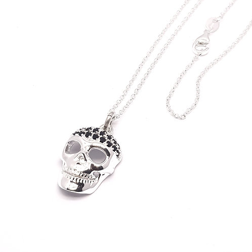 Sterling Silver and Black Cubic Zirconia Skull Necklace