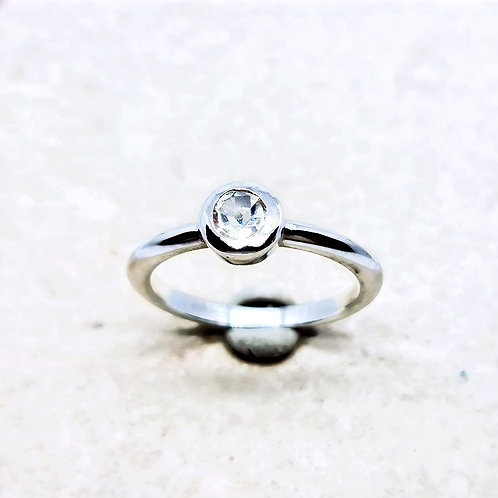 Sterling Silver White Topaz Gemstone Solitaire Ring
