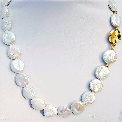 Sterling Silver Freshwater Cultured Coin Shaped Pearl Necklace