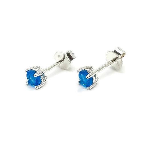 Sterling Silver Neon Blue Apatite Stud Earrings