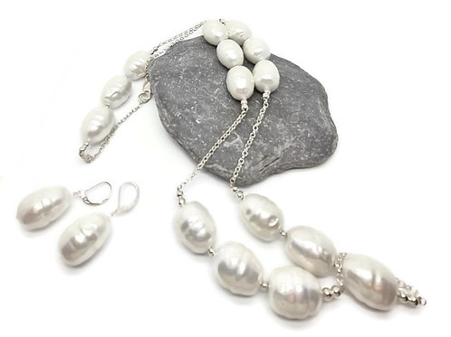 Sterling Silver Shell Pearl Statement Station Necklace and Earrings Set