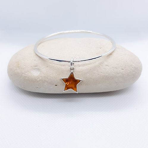 Sterling Silver Bangle with Amber Star Charm