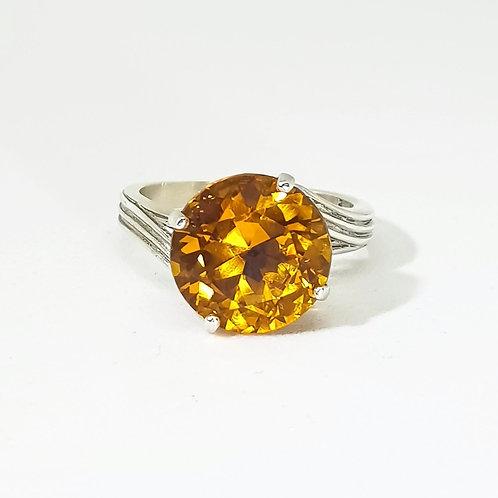 Statement Solitaire Golden Citrine Gemstone Ring