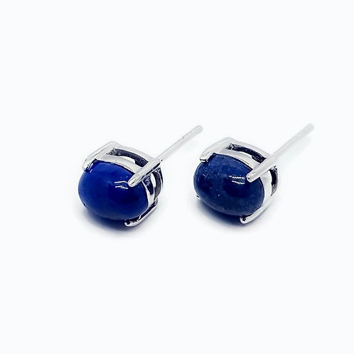 Sterling Silver Denim Blue Drumortierite Gemstone Earrings