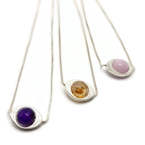 Sterling Silver Gemstone EyePendant and Chain