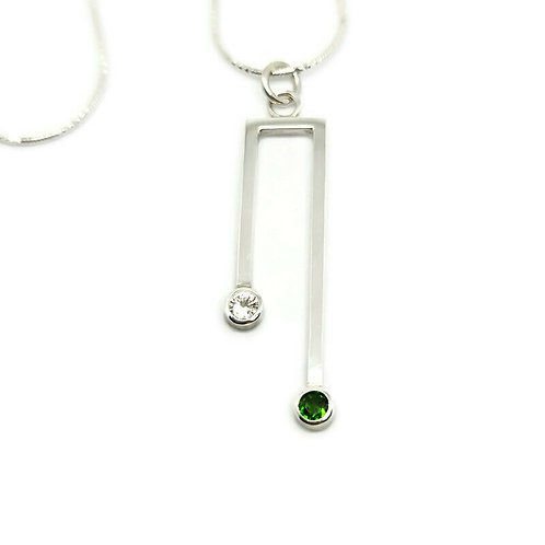 Sterling Silver White Sapphire and Russian Diopside Double Solitaire Pendant